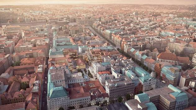 Vizualice přestavby paláce Savarin v centru Prahy.