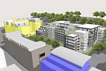 Vizualizace bytového komplexu na Žižkově v Praze, který bude vystavěn na adrese Jeseniova 38, kde v současné době dožívá bývalý areál Českého rozhlasu v chátrajícím stavu.