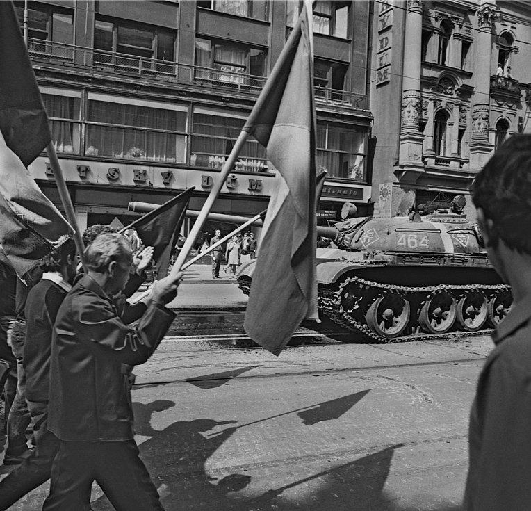 Ulice Na příkopě 21. srpna 1968.