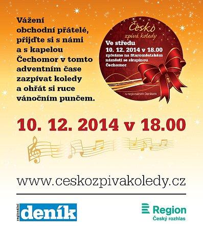 Česko zpívá koledy 2014 - pozvánka na Staroměstské náměstí vPraze.