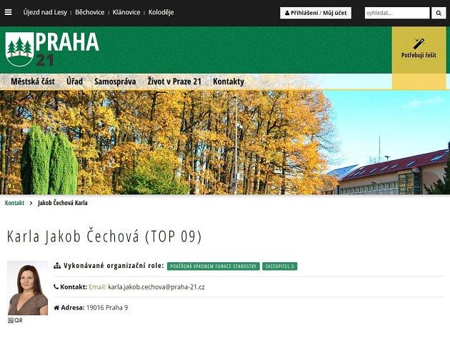 Starostkou Prahy 21 byla zvolena Karla Jakob Čechová (TOP 09).