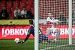 Zápas semifinále poháru MOL Cup mezi Slavia Praha a Sparta Praha hraný 24. dubna v Praze. Baluta