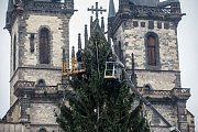 Zdobení vánočního stromu na Staroměstském náměstí.
