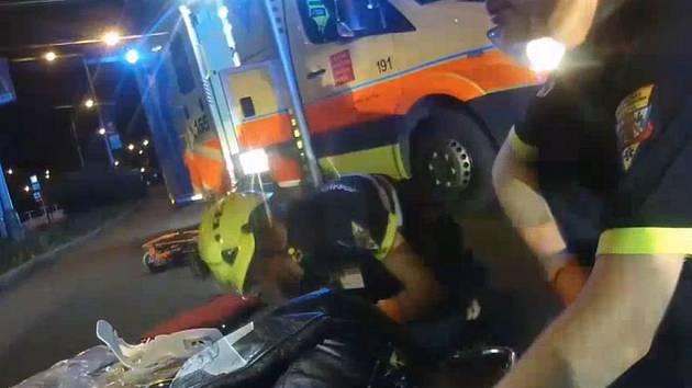 Nehoda motorkáře.