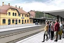 Vizualizace podoby nových nástupišť v Roztokách u Prahy.