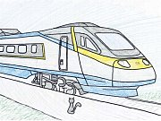 O kočičce a Pendolinu. Jedna z ilustrací Janise Mahbouliho v knize Pohádky z nádraží.