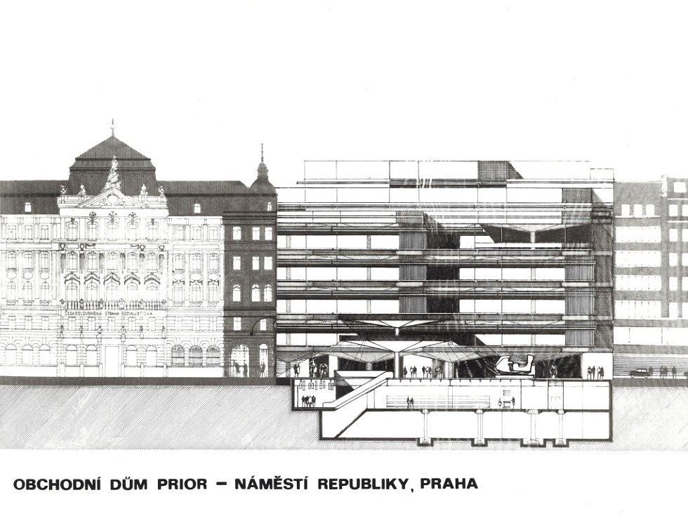Nákres obchodního domu Kotva na náměstí Republiky v Praze.
