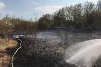 Pražští hasiči zasahovali o požáru travnatého palouku ve Štěrboholech.
