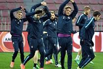 Fotbalisté Sparty Praha na tréninku před úvodním utkáním osmifinále Evropské ligy s Laziem Řím.