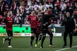 Zápas 28. kola Fortuna ligy mezi Sparta Praha a Slavia Praha, hraný 14. dubna v Praze v Sinobo stadium. Srdan Plavšič ze Sparty se raduje z golu