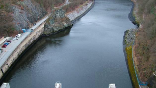 Slapská přehrada, která patří do soustavy vodních děl Vltavská kaskáda