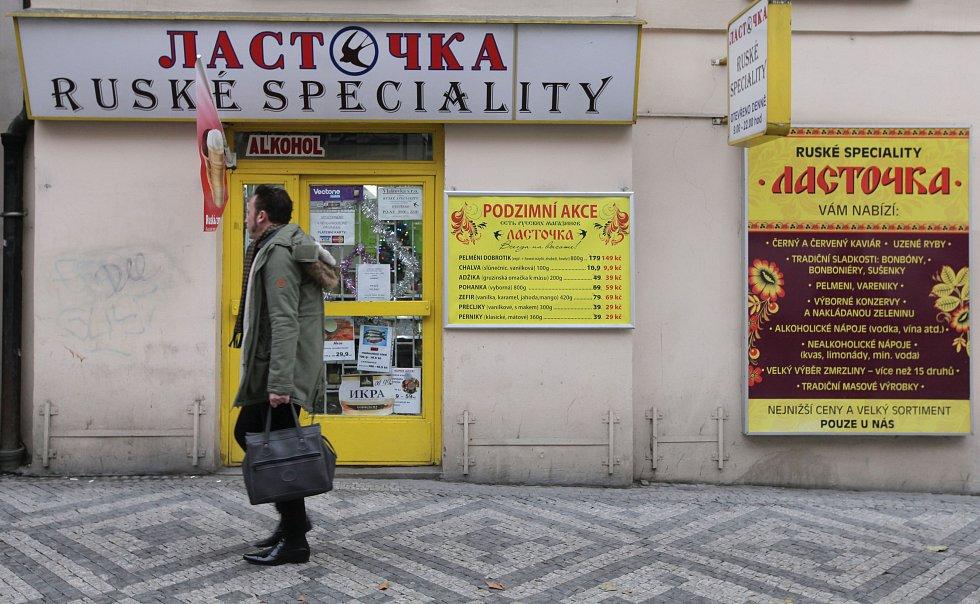Ruské obchody v Praze.
