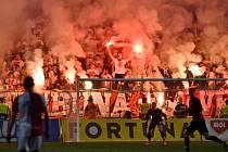 Semifinále fotbalového poháru MOL Cupu: SK Slavia Praha - AC Sparta Praha, 24. dubna 2019 v Praze. Fanoušci Slavie