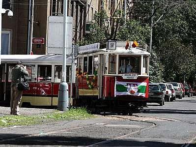 Historická tramvaj na Žižkově.