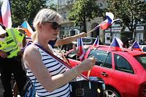 Z protestní 'Jízdy za naše děti a svobodu' na Václavském náměstí v Praze.