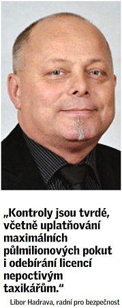 Citát radního Libora Hadravy okontrolách taxikářů vPraze.