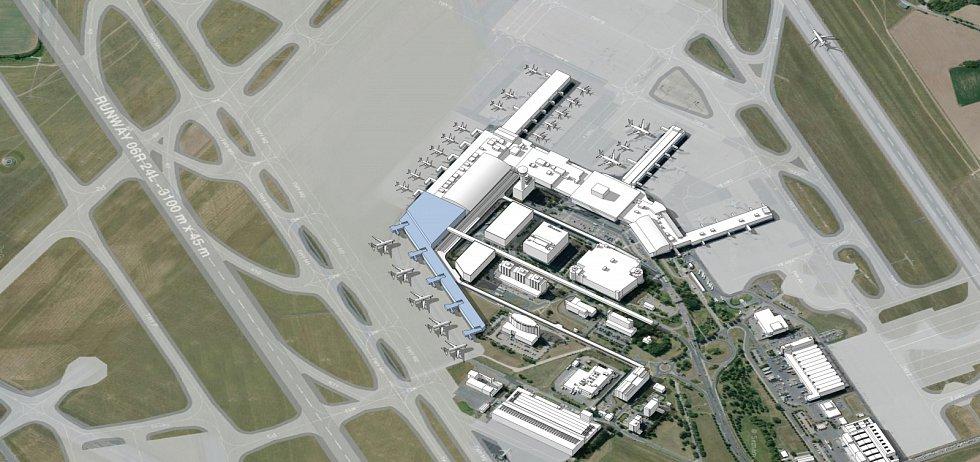 Vizualizace budoucí podoby letiště v Ruzyni. Etapa I prst D.