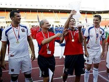 První historické mistrovství světa policejních fotbalových týmů konané na Strahově.