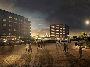 Rozestavěné centrum Nová Palmovka v Praze 8