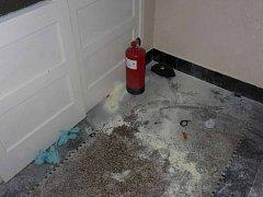Muž postříkal schody domu hasicím přístrojem.