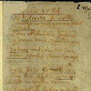 Výřez z první strany nejstarší dochované pražské matriky.