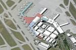 Vizualizace budoucí podoby letiště v Ruzyni. Etapa III prst E.
