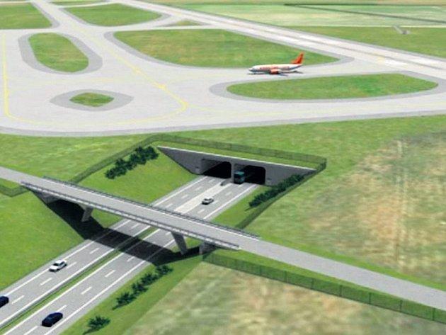 Vizualizace: Pokud bude nová ranvej Letiště Václava Havla vPraze postavena, budou auta kolem areálu muset projíždět vtunelu. Přistávací dráha totiž povede přímo nad silnicí R6 zPrahy do Karlových Varů. Tunel má být bude dlouhý necelých pět set metrů.