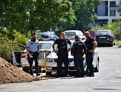 Policejní zásah ve Vysočanech.