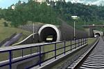 Vizualizace železničního tunelu mezi Prahou a Berounem.