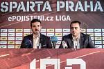 Nový trenér fotbalistů Sparty Andrea Stramaccioni vystoupil na tiskové konferenci 20. června v Praze. Vpravo je generální ředitel AC Sparta Praha Adam Kotalík.