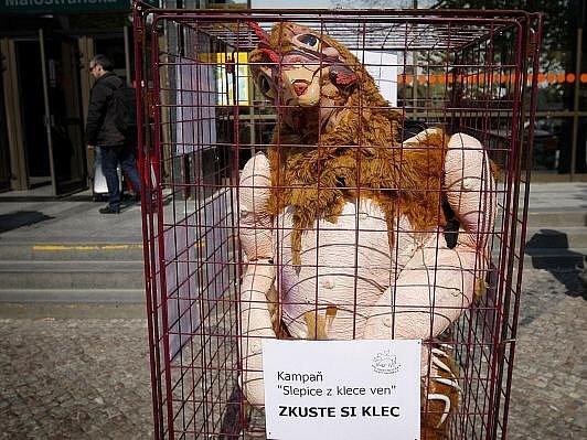 Společnost pro zvířata uspořádala 19. dubna v centru Prahy akci proti klecovým chovům slepic.