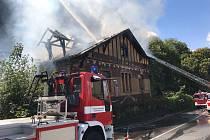 Požár střechy budovy v Libocké ulici.