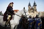 Svatý Martin přijel na bílém koni 11. listopadu na pražské Staroměstské náměstí.