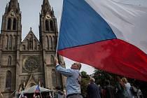 Demonstrace proti islamizaci Chceme bezpečnou zemi, kterou pořádal Úsvit s Blokem proti islamizaci, probíhala v Praze.