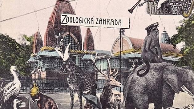 Budoucnost pražské zoologické zahrady ztvárněná na části dobové pohlednice.