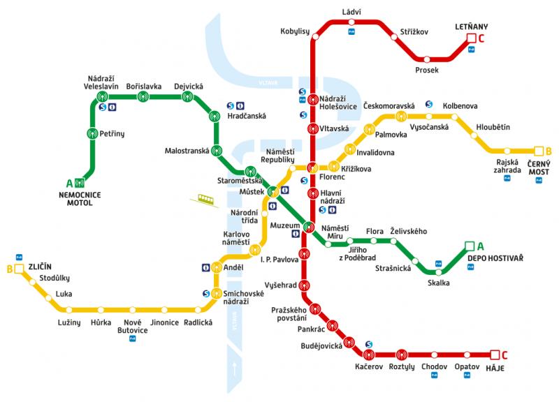 Schéma pokrytí mobilního signálu v pražském metru