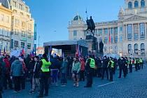 Na Václavském náměstí v Praze se 31. ledna 2021 konala protivládní demonstrace.