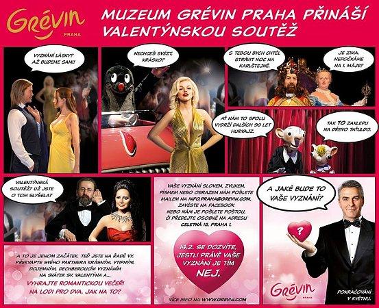 Valentýnská soutěž vmuzeu voskových figurín Grévin vPraze.