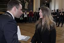 Setkání s pražskými medailisty z VI. zimní Olympiády dětí a mládeže ČR v Kraji Vysočina. Staroměstská radnice 19.března