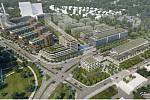 Praha představila nové návrhy stanic metra připravované linky D. Vizualizace navrhovaného rozvoje v oblasti stanice Nemocnice Krč.