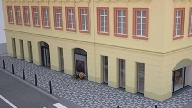 vizualizace průčelí Kaňkova paláce s nově umístěným pomníkem