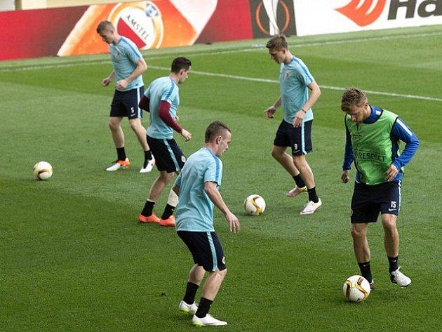 Z tréninku fotbalistů pražské Sparty na stadionu El Madrigal ve španělském Villarrealu.