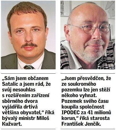 Citát obyvatele pražských Satalic a bývalého ministra životního prostředí Milana Kužvarta a starosty Satalic Františka Jenčíka.