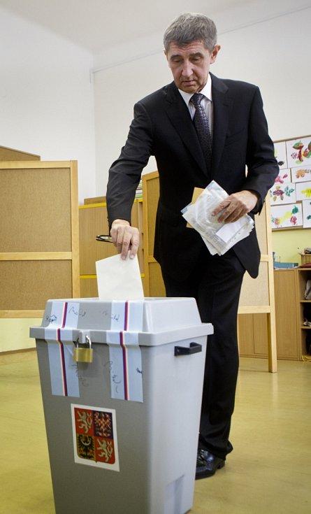 Volby do Poslanecké sněmovny 25. října v ZŠ Květnového vítězství v Praze.