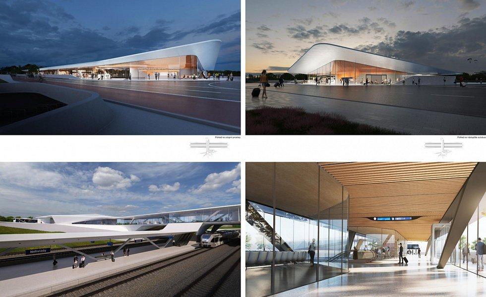 Návrh od Dipl.-Ing. Dirka Krolikowského, který byl oceněn za originalitu a kvalitu. Vizualizace exteriéru a interiéru terminálu.