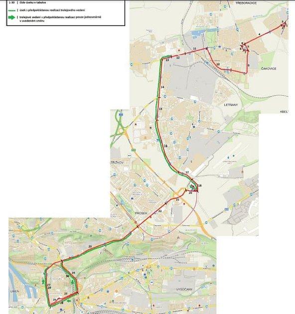 Trasa budoucí trolejbusové linky.