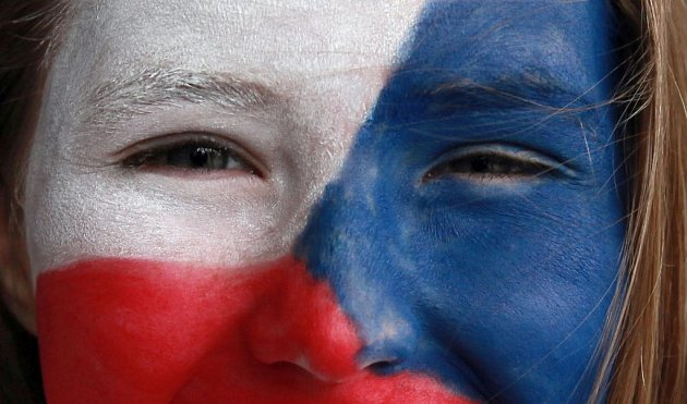 Čeští fanoušci před přípravným zápasem v hokeji mezi Českem a Kanadou před O2 Arénou