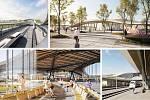 Návrh od Ing. arch. Pavla Fajfra, který byl oceněn za originalitu a kvalitu. Vizualizace exteriéru a interiéru terminálu.