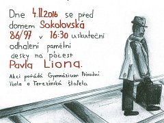 Plakát k odhalení desky Pavla Liona.