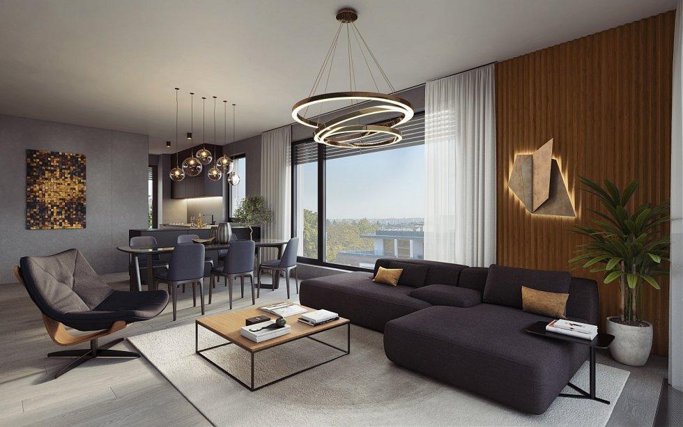 Vizualizace areálu Maison Ořechovka. Malý obývací pokoj.